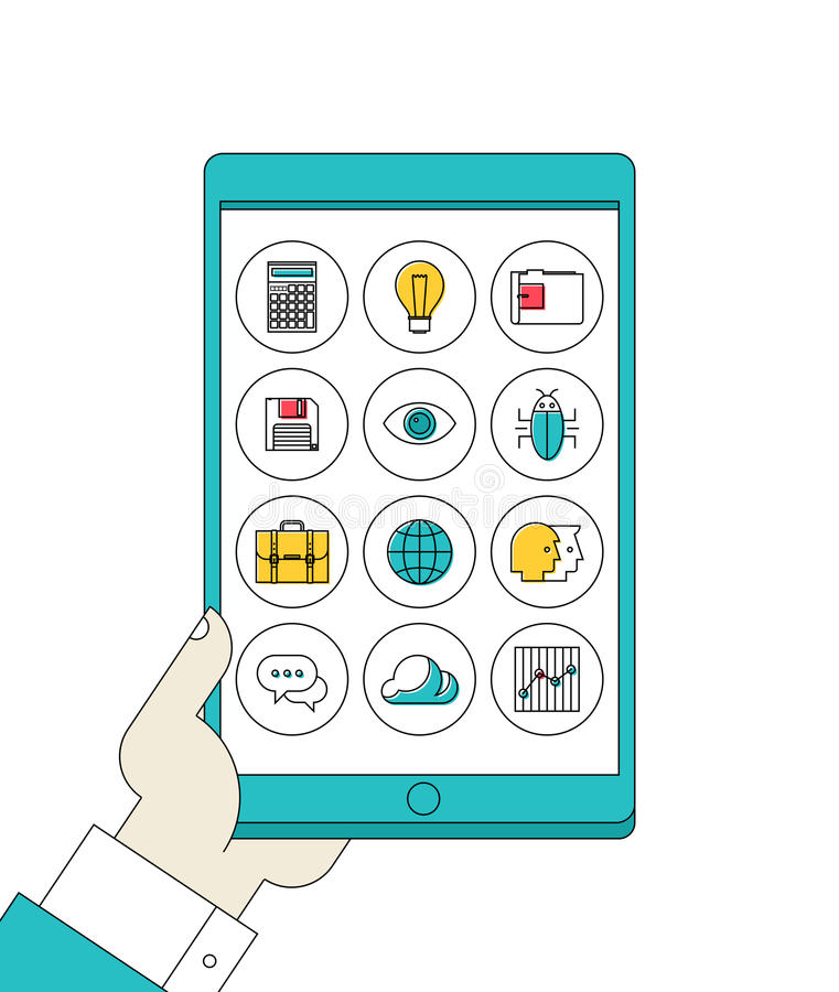 Tableta de Digitaces a disposición con la línea iconos de los apps ilustración del vector