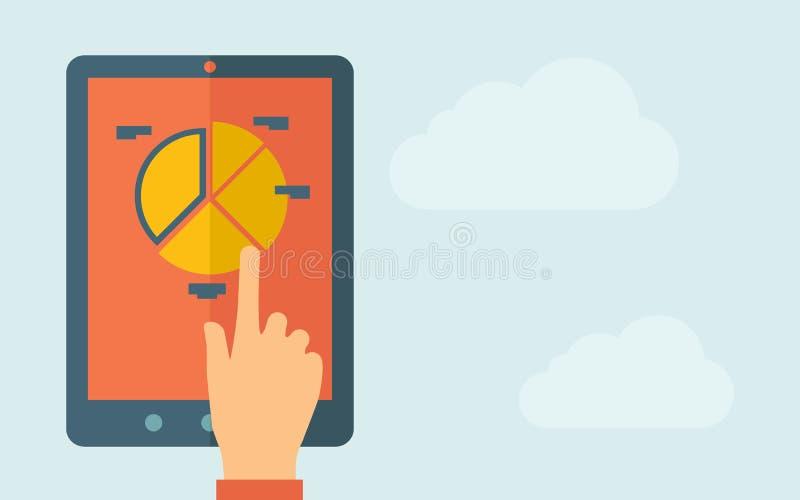 Tableta de la pantalla táctil con el icono del gráfico de sectores ilustración del vector