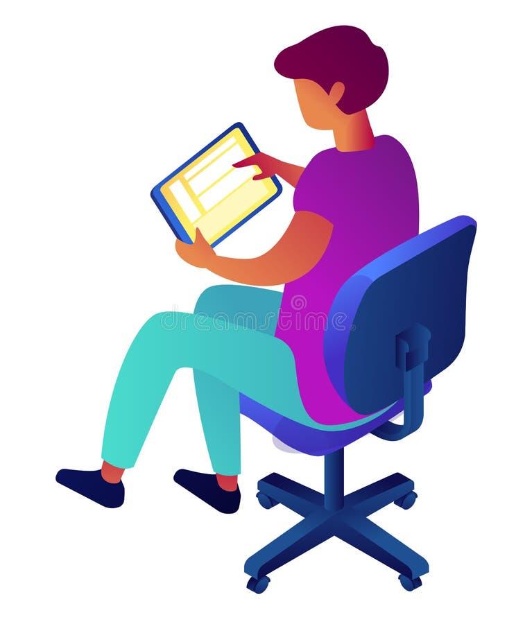 Tableta de la tenencia del hombre de negocios y el sentarse en el ejemplo isom?trico 3D de la silla ilustración del vector