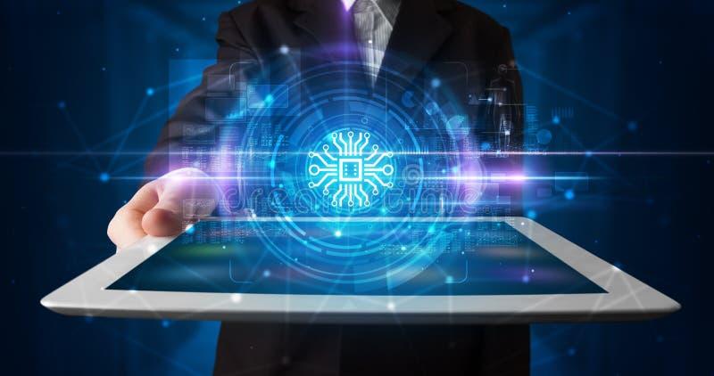 Tableta de la tenencia de la mano con concepto en línea de la seguridad ilustración del vector