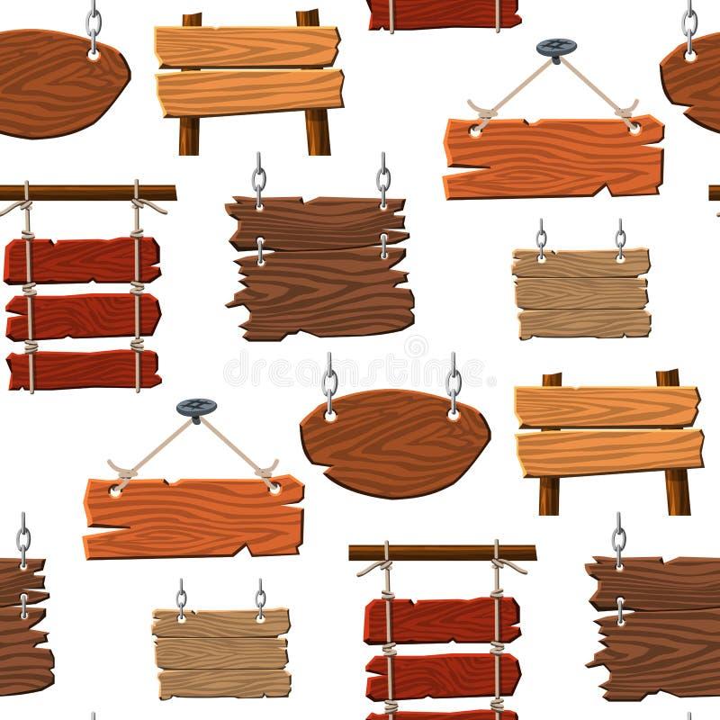 Tableta de madera del letrero del directorio del tablero de madera del camino que indica el fondo inconsútil del modelo del vecto stock de ilustración