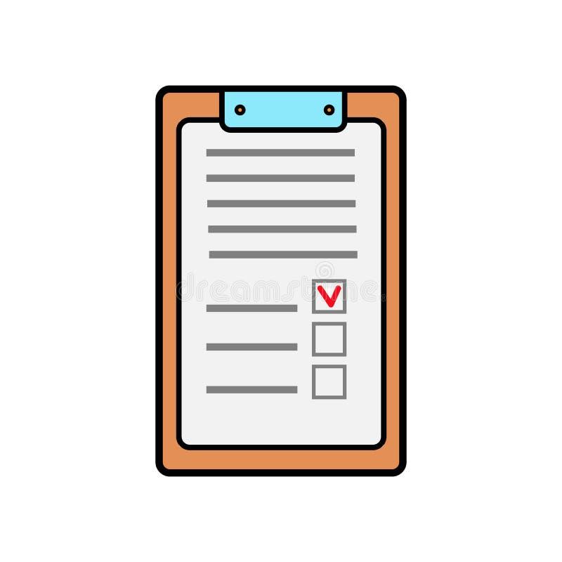 Tableta de papel rectangular del negocio para los expedientes con un clip, libreta médica para las prescripciones con un historia ilustración del vector