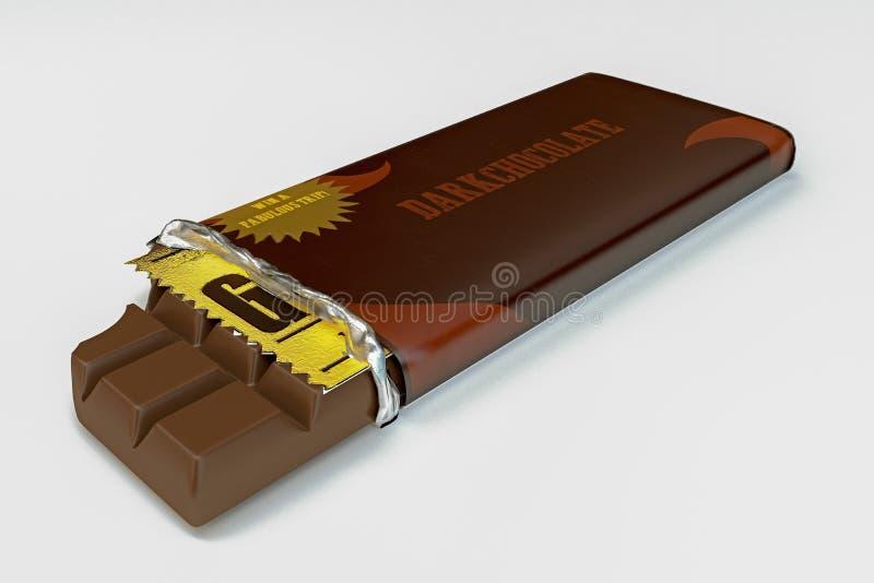 Tableta del chocolate aislada en el fondo blanco ilustración del vector