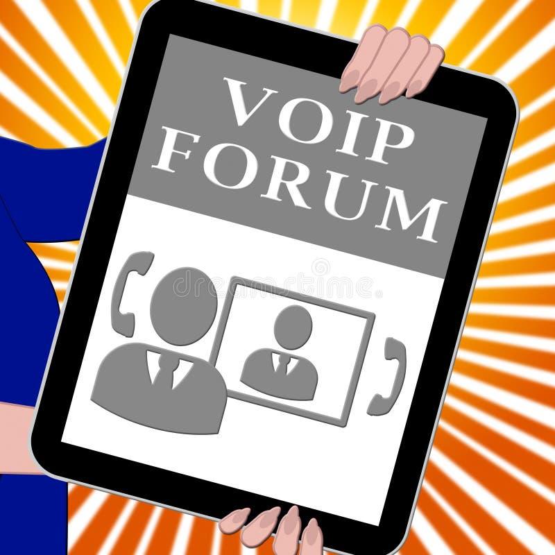 Tableta del foro de Voip que muestra el ejemplo de la voz 3d de Internet ilustración del vector