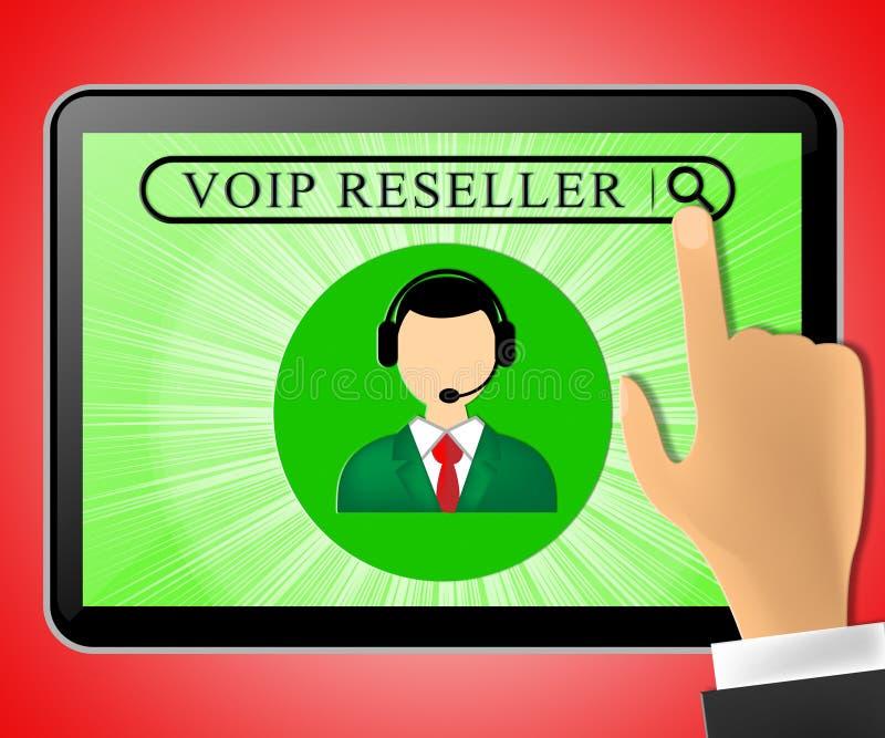 Tableta del revendedor de Voip que representa el ejemplo de la voz 3d de Internet ilustración del vector