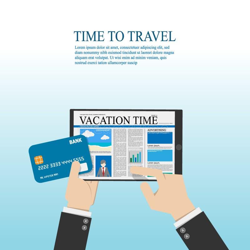 Tableta digital del uso del hombre de negocios para leer sobre la informaci?n del viaje y sostener la tarjeta de cr?dito a dispos stock de ilustración