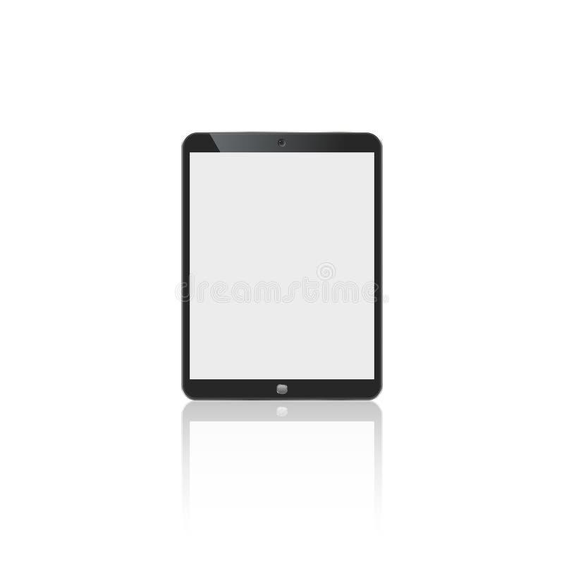 Tableta en color del negro del estilo del ipad con la pantalla táctil en blanco aislada en el fondo blanco Ilustración común del  libre illustration