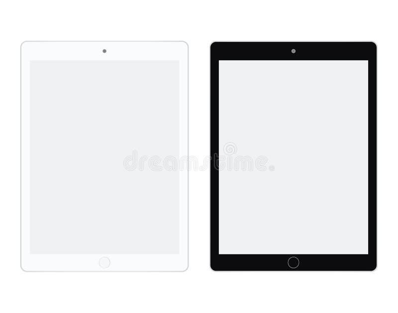 Tableta en el vector blanco y negro eps10 del color La tableta fijó estilo plano Dos hago tabletas el sistema blanco y negro ilustración del vector