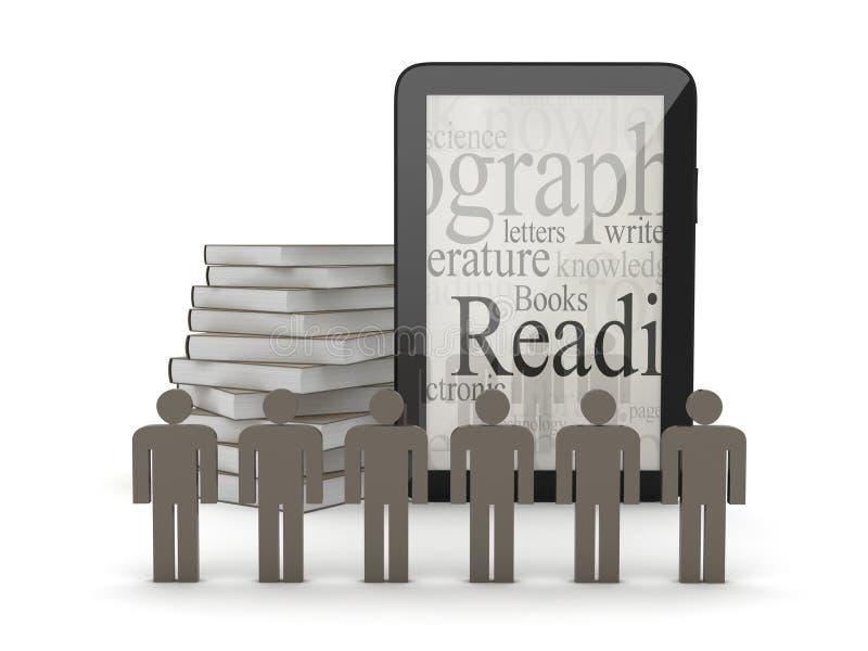 Tableta, figuras humanas y libros libre illustration