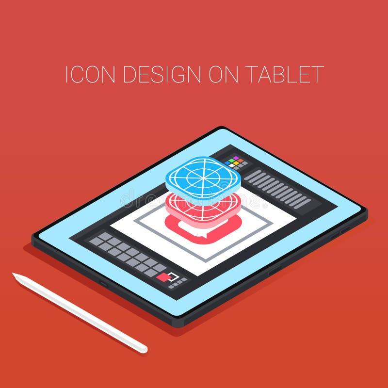 Tableta frameless moderna con la pluma tableta isométrica 3d con el app del diseño Los iconos diseñan en la tableta stock de ilustración