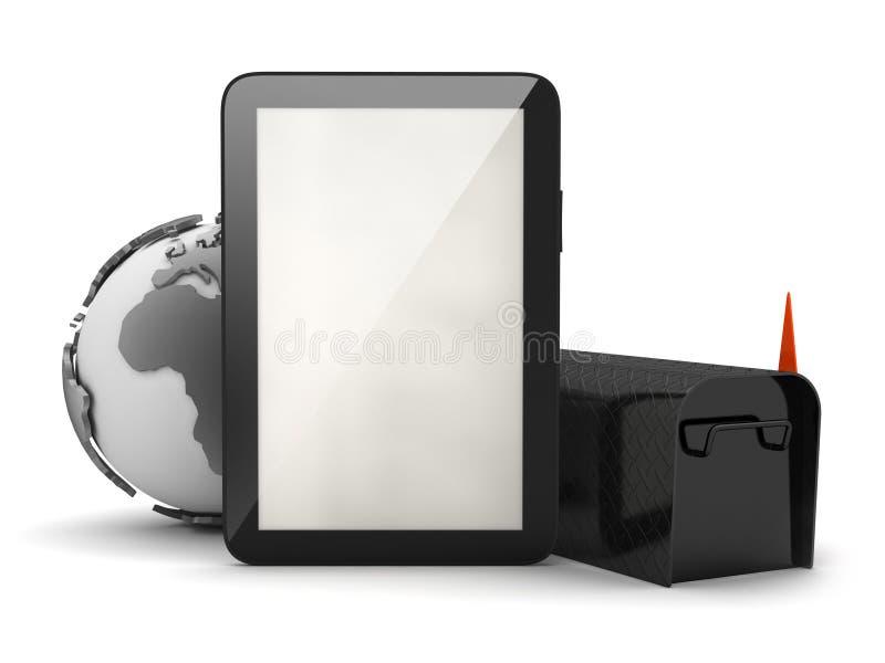 Tableta, globo de la tierra y buzón negro stock de ilustración