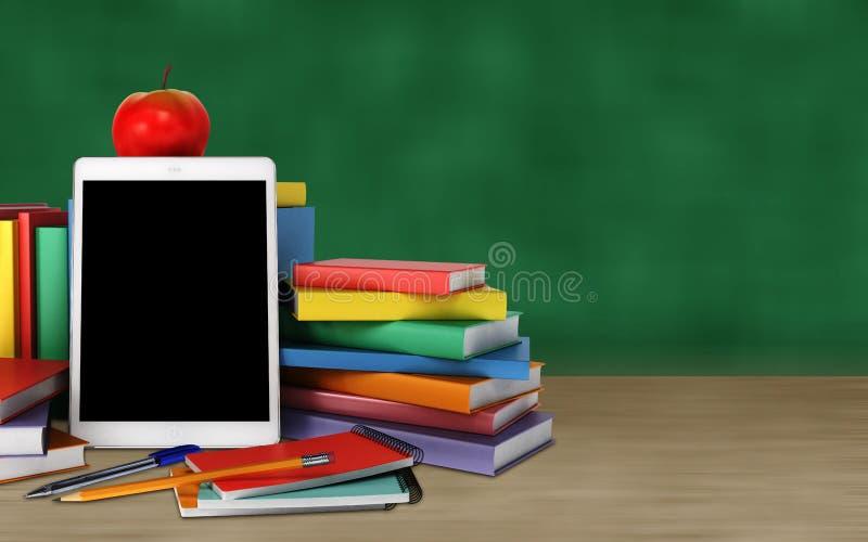 Tableta, libros coloridos, fuentes de escuela y manzana en la tabla o fotografía de archivo libre de regalías