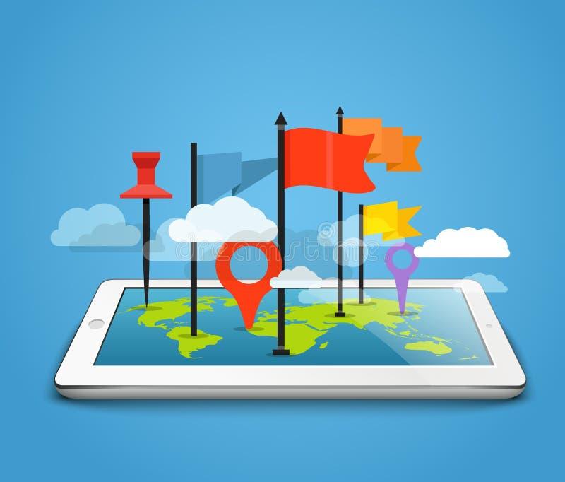 Tableta moderna con el mapa y los pernos de la tierra ilustración del vector