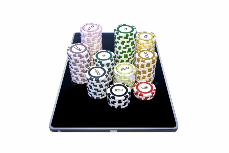 Tableta moderna con las fichas de póker ilustración del vector