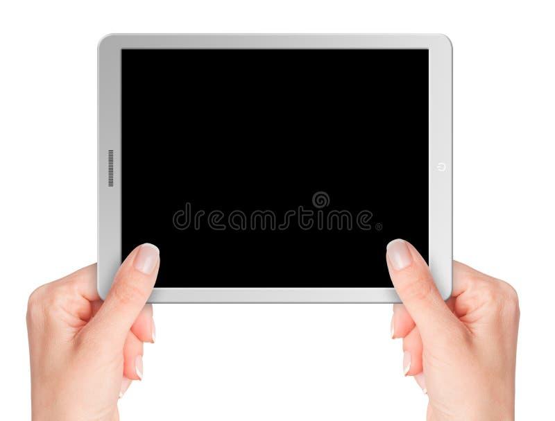 Tableta moderna del ordenador con el fondo en blanco fotos de archivo