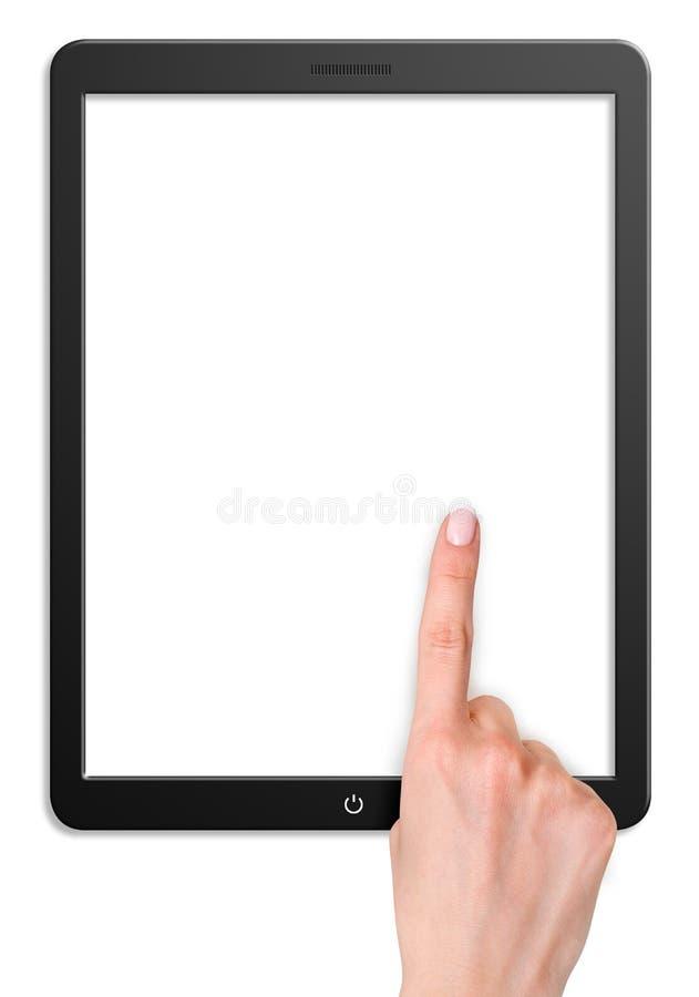 Tableta moderna del ordenador con la pantalla en blanco fotografía de archivo libre de regalías