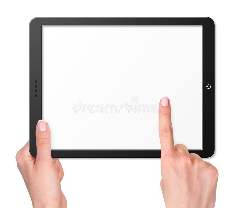 Tableta moderna del ordenador con las manos imagenes de archivo