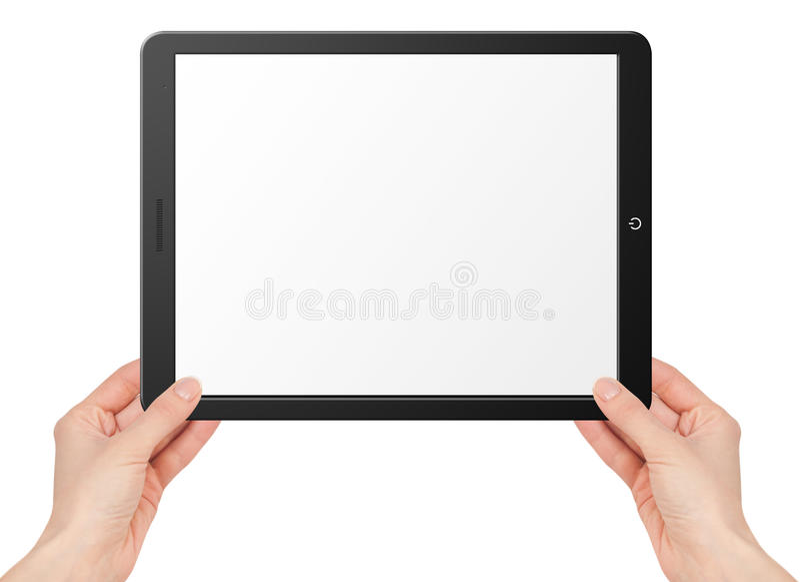 Tableta moderna del ordenador con las manos foto de archivo