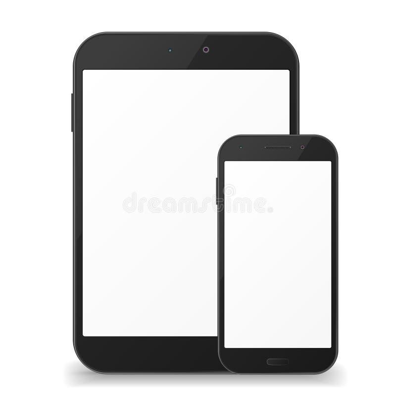 Tableta negra del fnd del teléfono móvil stock de ilustración