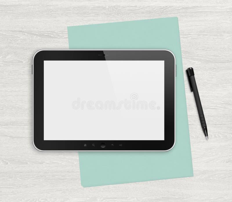 Tableta digital en blanco en un escritorio blanco stock de ilustración