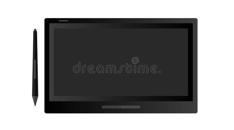 Tableta profesional de la pluma de dibujo Dispositivo del diseño de la oficina electrónica Ilustraci?n aislada del vector stock de ilustración