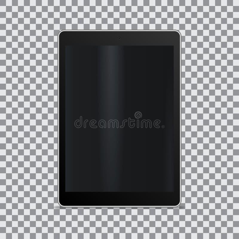 Tableta realista con la pantalla en blanco en un fondo transparente ilustración del vector