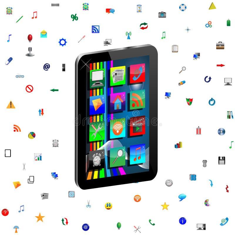 Tableta e iconos libre illustration