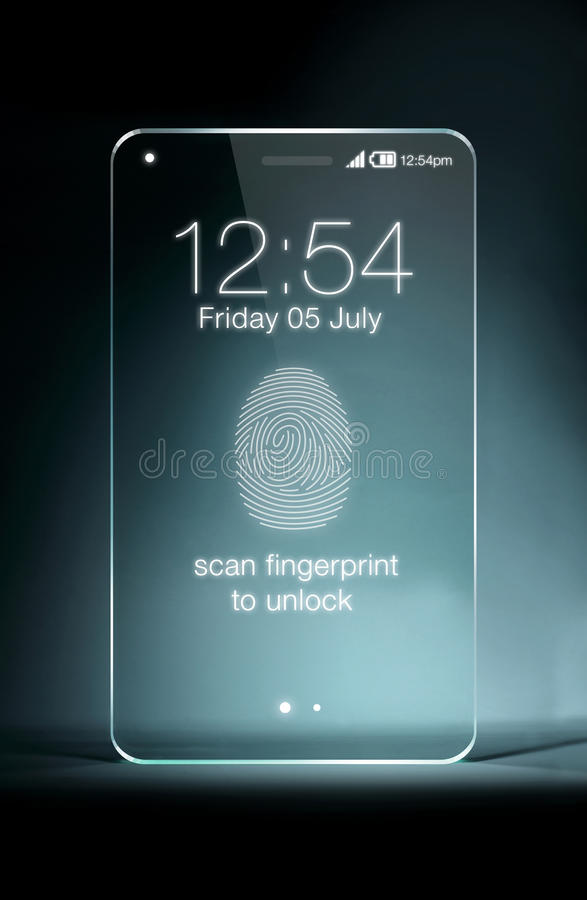 Tableta transparente con el icono del fingerpeint en fondo azul fotografía de archivo