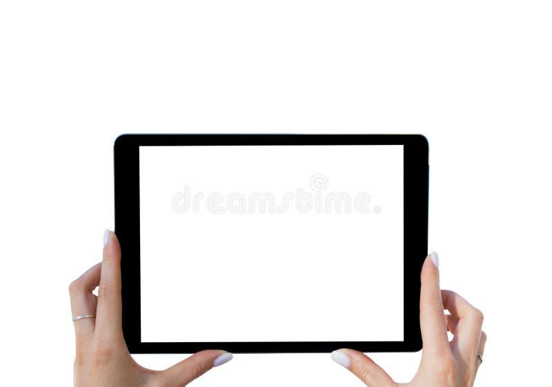 Tableta vacía en blanco en las manos de la muchacha Aislado en blanco Pantalla blanca vacía en blanco Espacio vacío para el texto fotos de archivo libres de regalías