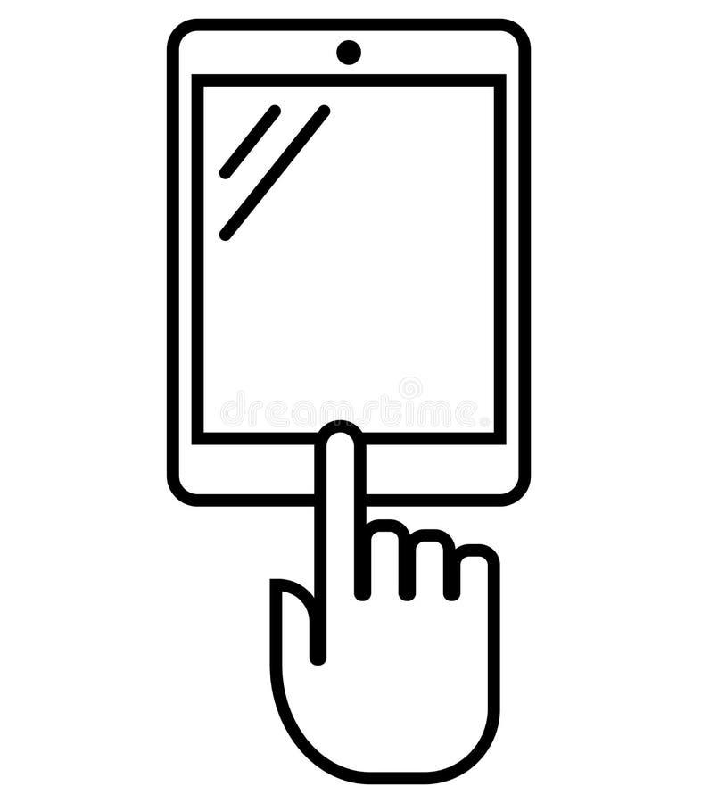Tableta vertical con el icono del esquema de la mano stock de ilustración