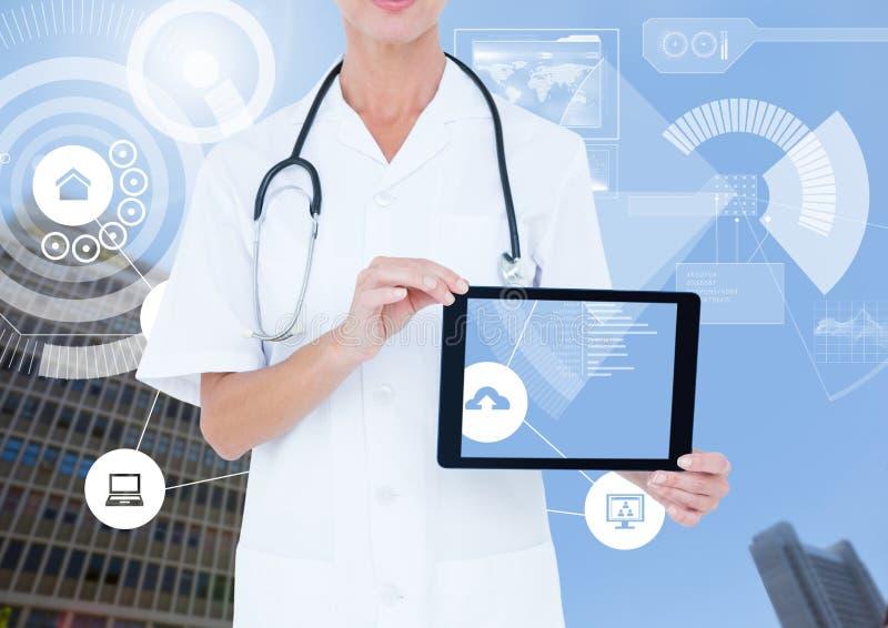 Tableta y ciudad de la tenencia de la mujer del doctor con los iconos y el interfaz ilustración del vector
