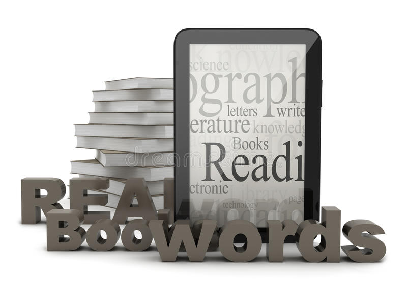 Tableta y libros libre illustration
