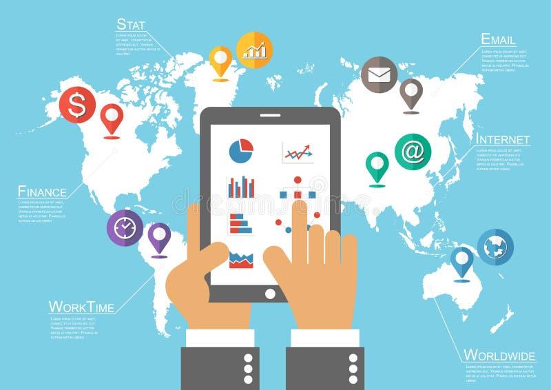 Tableta y mapa del mundo del control del hombre de negocios con el indicador de la ubicación (vector de Infographic) ilustración del vector