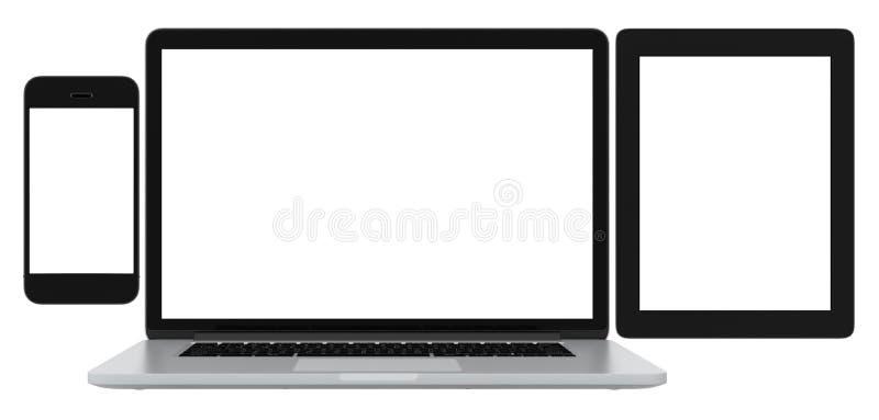 Tableta y ordenador portátil en blanco del teléfono en el fondo blanco foto de archivo
