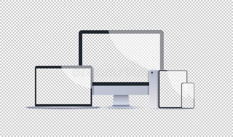 Tableta y smartphone realistas del monitor del ordenador portátil del sistema de la maqueta de los dispositivos electrónicos con  ilustración del vector