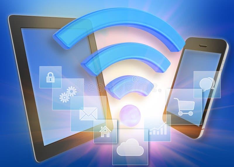 Tableta y teléfono con el icono de Wi-Fi ilustración del vector