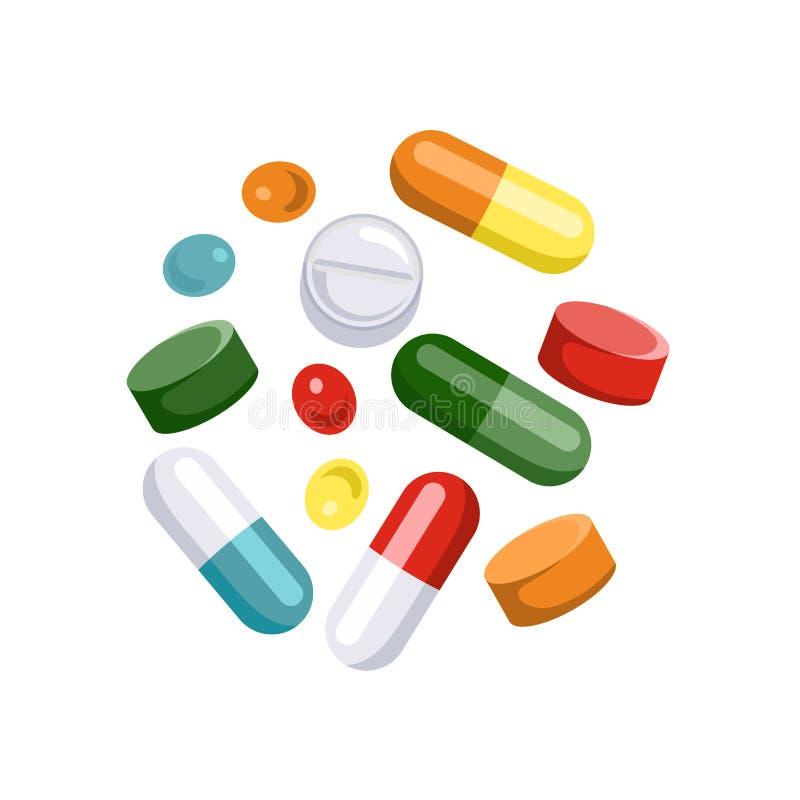 Tabletas de diversos colores y formas Iconos de las píldoras, cápsulas libre illustration