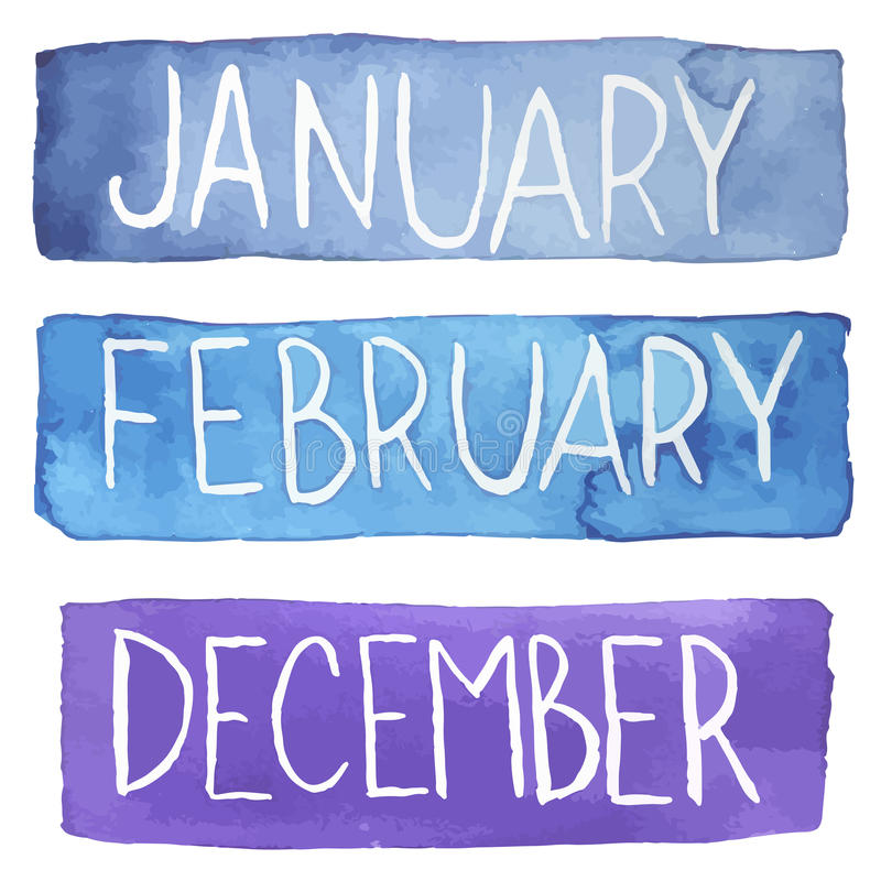 Tabletas de la acuarela con meses de invierno stock de ilustración