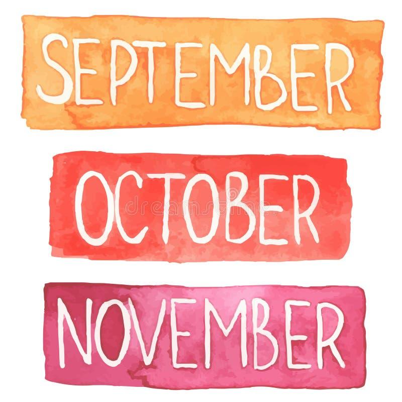 Tabletas de la acuarela con meses del otoño libre illustration