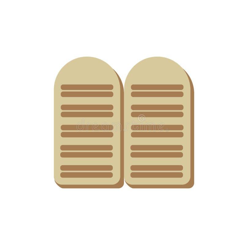 Tabletas del icono dos de los mandamientos de la ley diez de Moses ilustración del vector