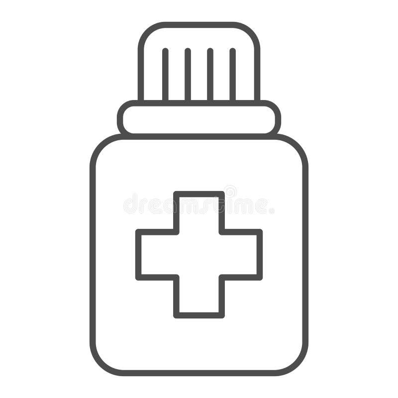 Tabletas en la línea fina icono del tarro plástico Botella con el ejemplo del vector de la droga aislado en blanco Estilo del esq ilustración del vector