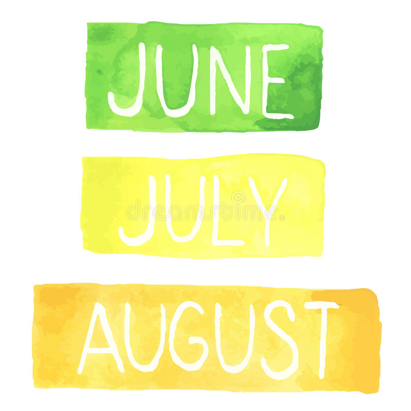Tabletas pintadas a mano de la acuarela con meses del verano ilustración del vector