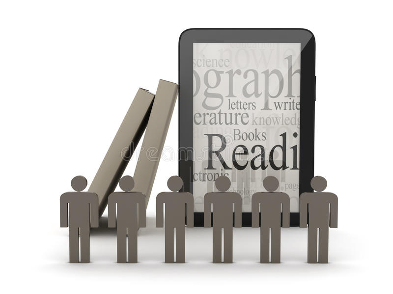 Tabletcomputer, boeken en menselijke cijfers stock illustratie