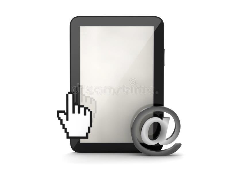 Tabletcomputer, curseurhand en e-mailteken royalty-vrije illustratie