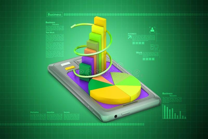 Tabletcomputer die financiële grafiek tonen vector illustratie