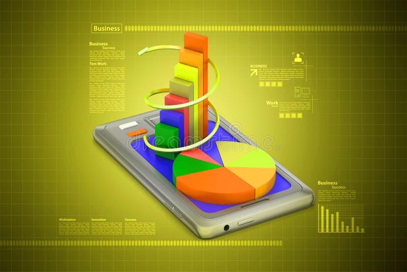 Tabletcomputer die financiële grafiek tonen stock illustratie