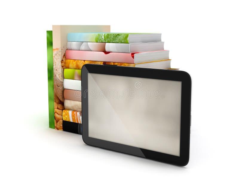 Tabletcomputer en boeken vector illustratie