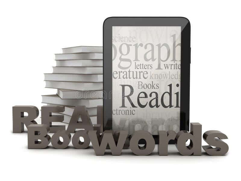 Tabletcomputer en boeken royalty-vrije illustratie