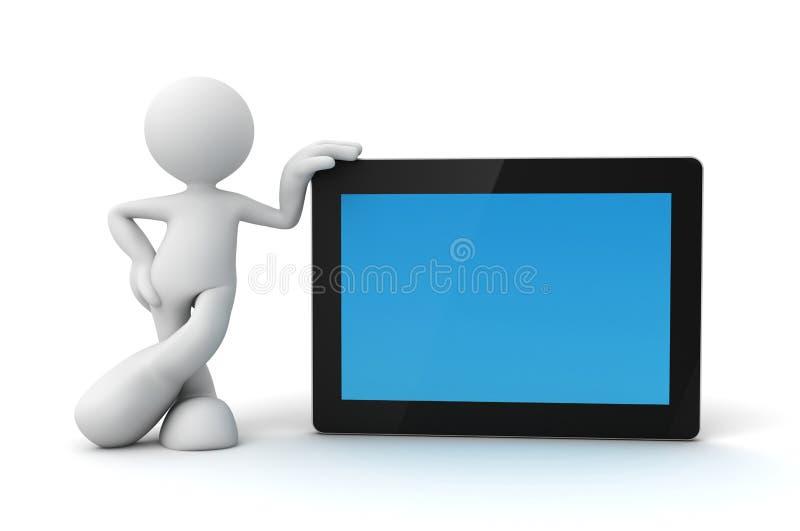 Tabletcomputer en 3d illustratie van het mensenconcept stock illustratie