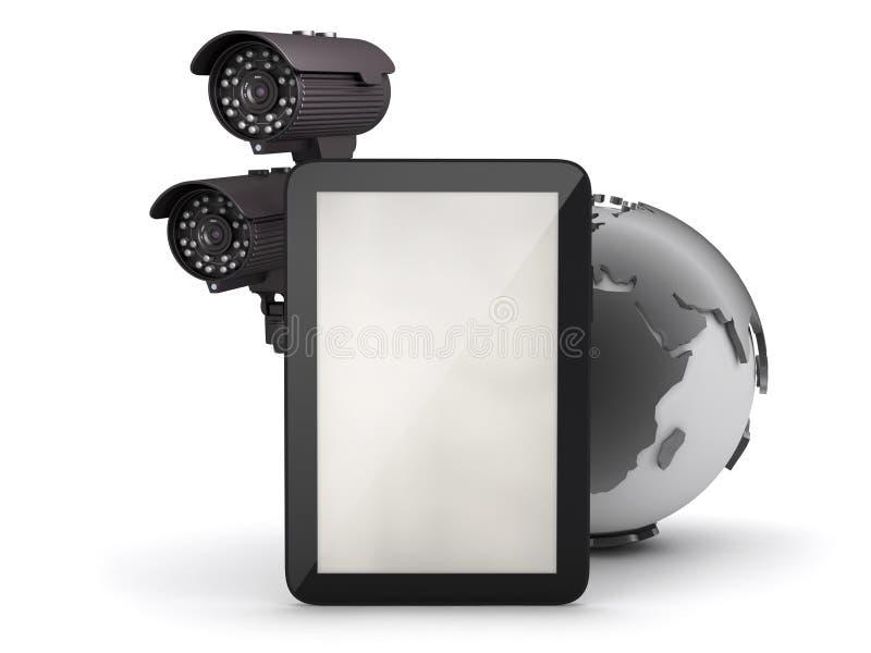 Tabletcomputer en toezichtcamera vector illustratie